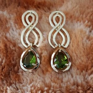 PERIDOT COLOR PIERCED STATEMENT EARRINGS